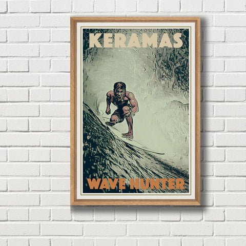 Keramas Wave Hunter Surf Poster