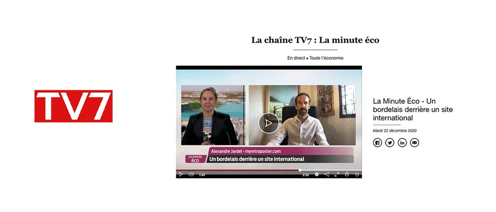 Alex Jardel interviewed for la Minute Eco on TV7 about MyRertroposter