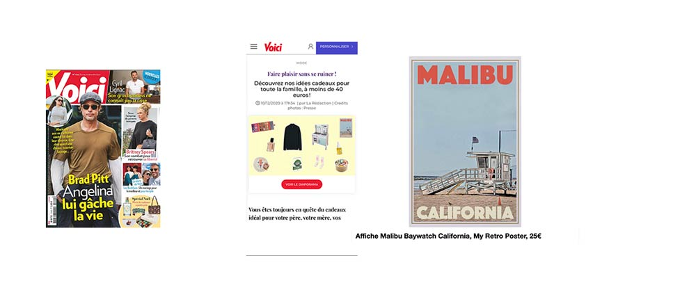 Malibu Baywatch Art Print in Voici : ALl our gift ideas for the family (under 40€)