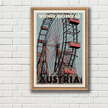 Load image into Gallery viewer, Vintage poster - WIENER RIESENRAD - Vintage travel poster of Austria