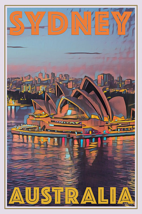 retro style poster of a sunset over Sydney opera Australia