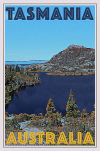 vintage style poster of the lake in Tasmania Australia