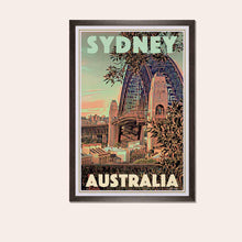 Load image into Gallery viewer, Framed Poster SYDNEY'S BRIDGE - Original Retro Poster Australia