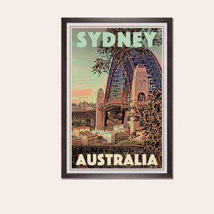 Framed Poster SYDNEY'S BRIDGE - Original Retro Poster Australia