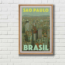 Load image into Gallery viewer, Framed poster of Sao Paulo - Vintage poster