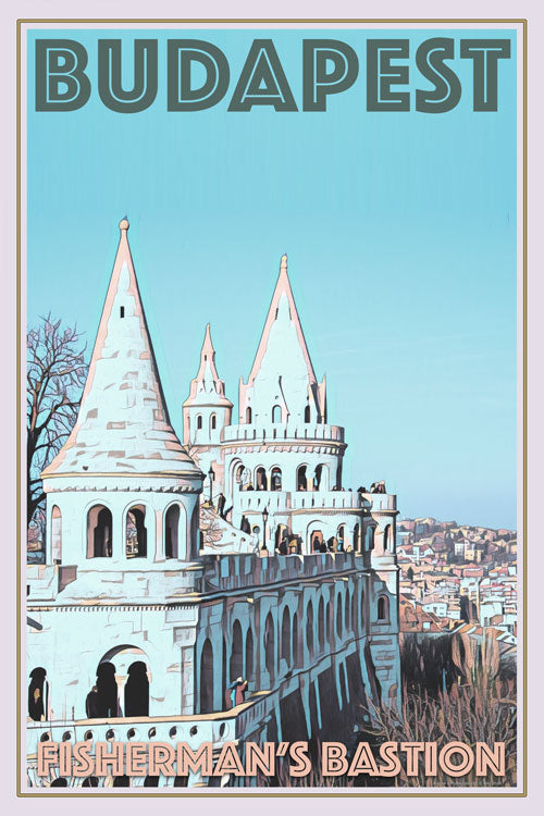 retro poster of fisherman's bastion budapest