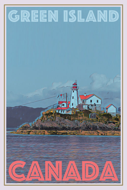 retro poster of green island lighthouse - canada