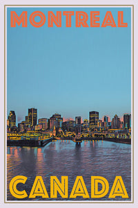 retro poster of a panorama of montreal - canada