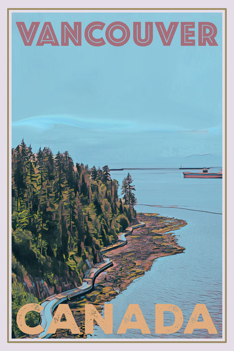 retro poster of seawall stanley park vancouver
