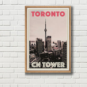 TORONTO CN TOWER - Vintage travel poster Canada