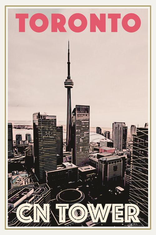 Vintage Poster of TORONTO CN TOWER - Travel Poster CANADA