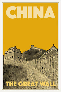 Affiche ancienne - CHINA GREAT WALL 1 - Affiche de voyage ancienne de Chine