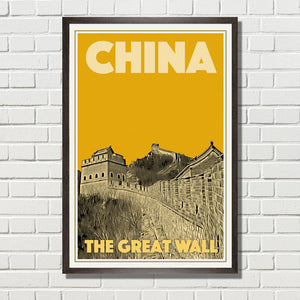 CHINA GREAT WALL 1 - Affiche de voyage ancienne de Chine