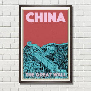CHINA GREAT WALL 2 - Vintage travel poster of China