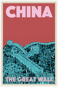 Vintage poster - CHINA GREAT WALL 2 - Vintage travel poster of China