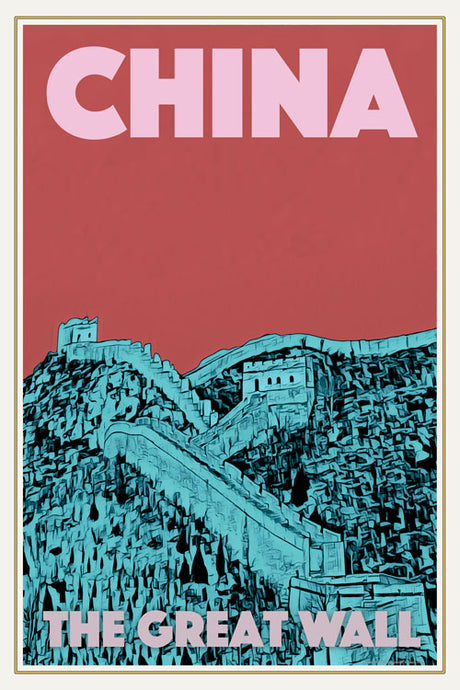 Affiche ancienne - CHINA GREAT WALL 2 - Affiche de voyage ancienne de Chine