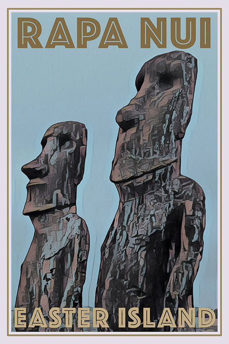 RAPA NUI MOAIS EASTER ISLAND - Vintage travel poster