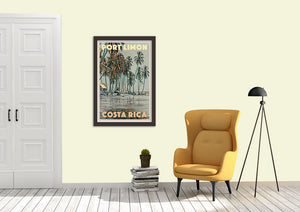 Port Limon Costa Rica poster brings an exotic touch to your interior decor