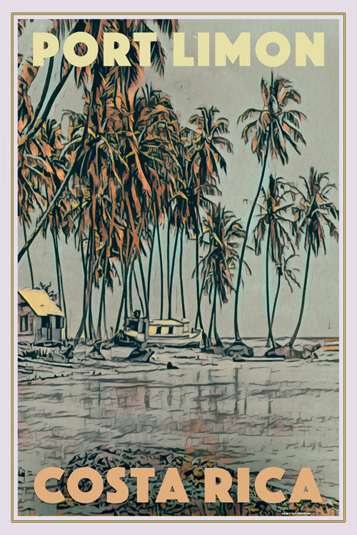 Poster of PORT LIMON - Vintage Travel Poster COSTA RICA