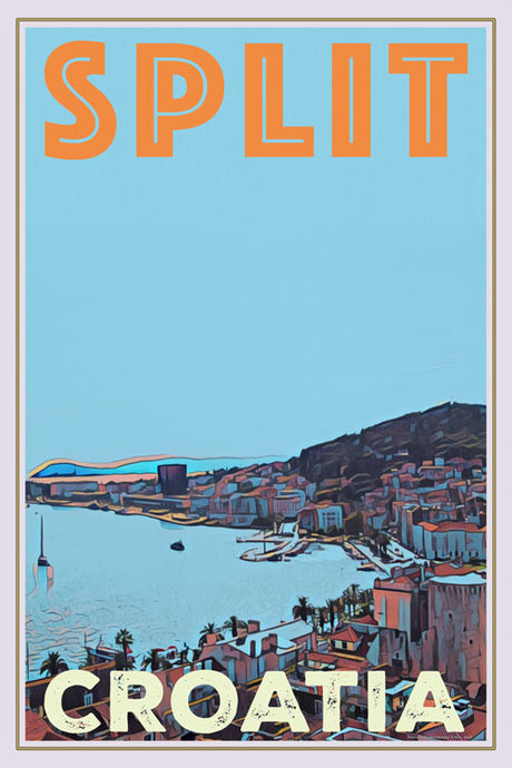 vintage poster of split bay in croatia