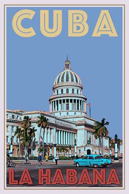 retro poster of the capitol in Havana Cuba