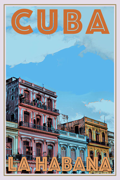 retro style poster of colored building in la Habana Cuba