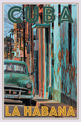 retro poster of old green car la Habana Cuba