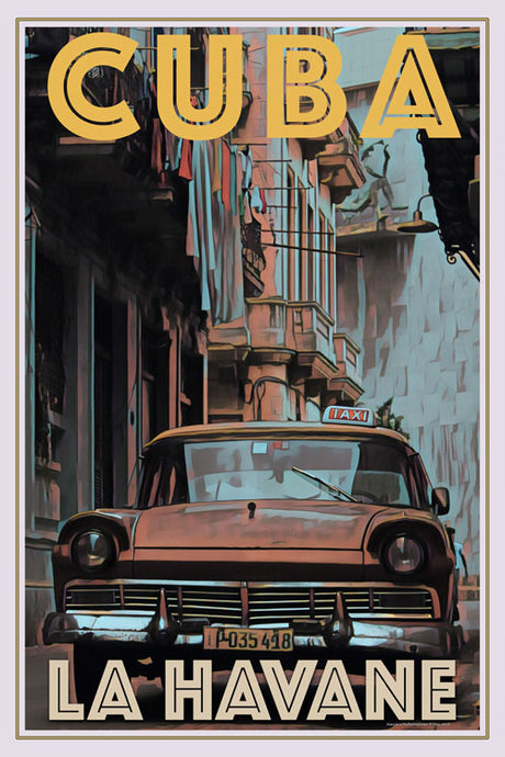 retro poster of old taxi la Havane Cuba