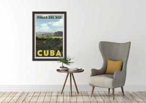 Cuban inspired decor with Pinar del Rio poster