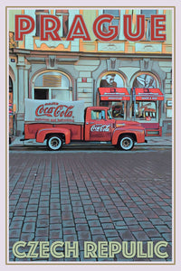 retro poster of old coca cola truck in prague