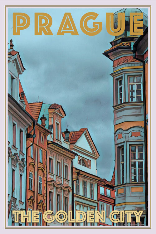 retro poster of prague the golden city