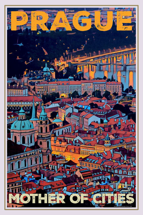 retro poster panorama of prague - czech republic