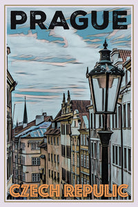 retro poster of old street in prague - czech