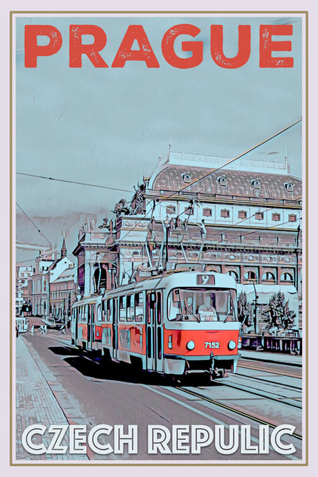 retro poster tram in Prague - Czech republic