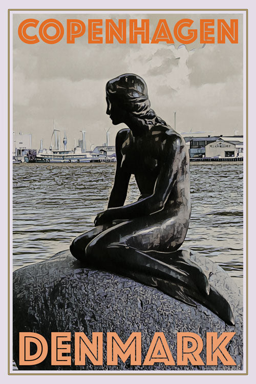vintage poster little mermaid copenhagen denmark