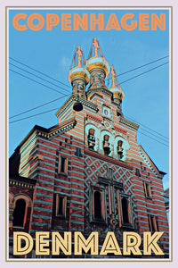 NEVSKY CHURCH COPENHAGEN - Vintage travel poster
