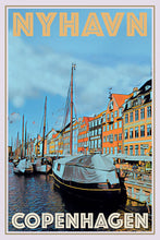 Load image into Gallery viewer, vintage poster nyhavn copenhagen