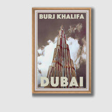 Load image into Gallery viewer, Framed Poster Burj Khalifa 1 - Retro Art Print Dubai UAE