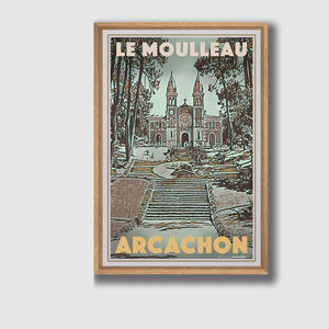 Framed Poster ARCACHON MOULLEAU CHURCH - Retro Art Print