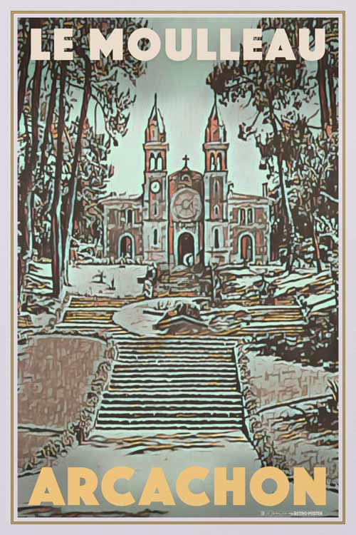 Vintage travel Poster ARCACHON MOULLEAU CHURCH - Retro Art Print