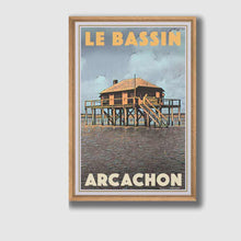 Load image into Gallery viewer, Framed Poster CABANE TCHANQUEE - Retro Poster ARCACHON
