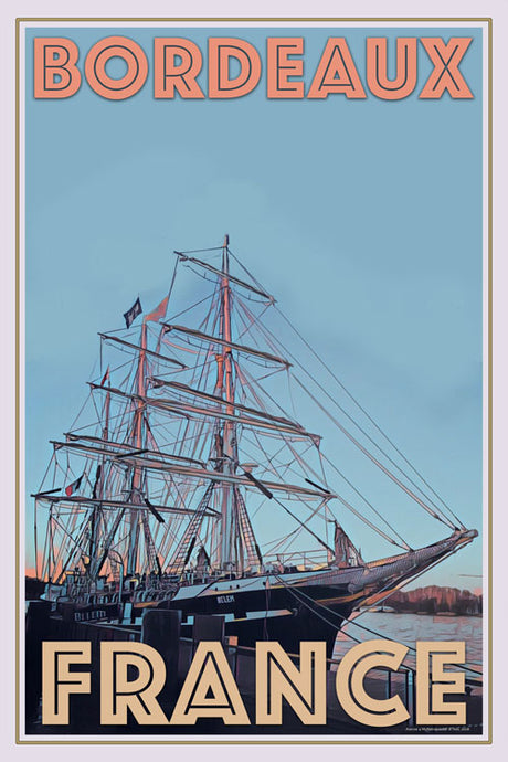 retro poster of Belem Ship in Bordeaux - France