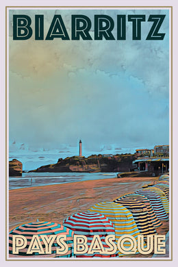 retro affiche poster grand plage biarritz france
