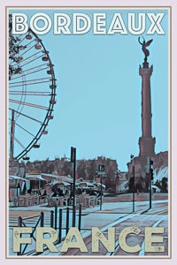 retro poster of Bordeaux Quinconces fair and big wheel