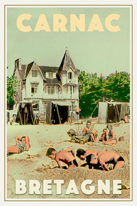 Vintage poster of CARNAC BEACH LIFE - Poster Bretagne