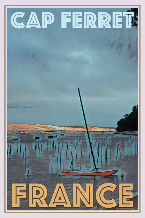 retro poster catamaran cap ferret France