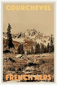 Retro poster - COURCHEVEL - Travel vintage poster - Limited edition