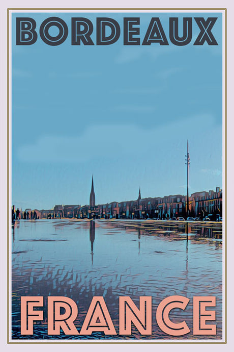 retro poster of Bordeaux France
