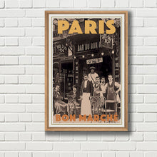 Load image into Gallery viewer, Framed Vintage travel poster of Paris BON MARCHE