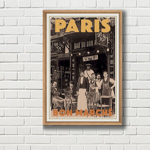 Framed Vintage travel poster of Paris BON MARCHE